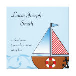 Blue Sailboat Baby Stretched Canvas Prints