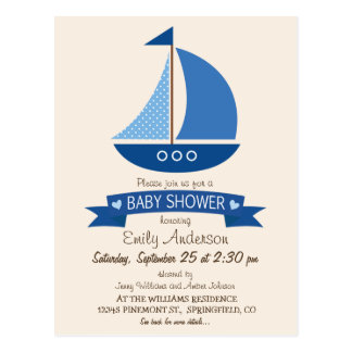 Blue Sailboat, Nautical Baby Shower Postcard