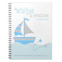 Blue Sailboat Nautical Boy Baby Shower Guest Book