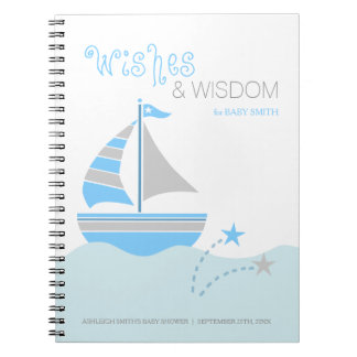 Blue Sailboat Nautical Boy Baby Shower Guest Book Note Books