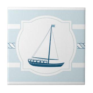 Blue sailboat nautical style stripes ceramic tile