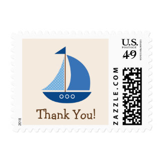 Blue Sailboat, Nautical; Thank You Postage
