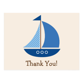 Blue Sailboat, Nautical; Thank You Postcard