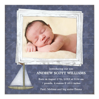 Blue Sailboat Stars Boy Photo Birth Announcement