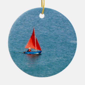 Blue Sailboat with Red Sail at Coverack Cornwall Ceramic Ornament
