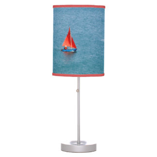 Blue Sailboat with Red Sail at Coverack Cornwall Desk Lamp