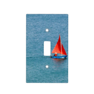 Blue Sailboat with Red Sail at Coverack Cornwall Light Switch Cover