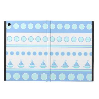Blue Sailboats and Circles Rows iPad Air Covers