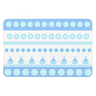 Blue Sailboats and Circles Rows Magnet