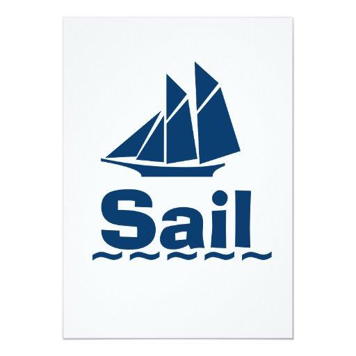 Blue Sailing 5x7 Paper Invitation Card