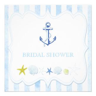 Blue Sailing Anchor Nautical Bridal Shower Invites