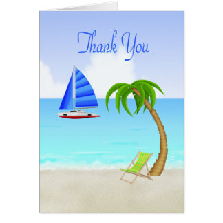 Blue Sailing Boat and Beach, Thank You Card