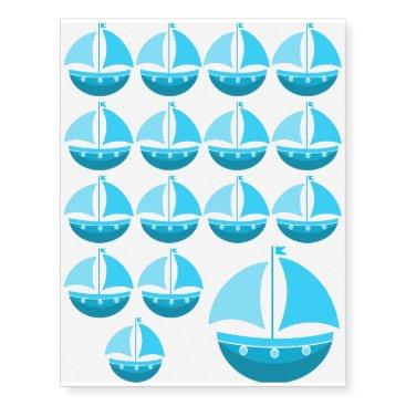 Beach Themed Blue Sailing Boat Temporary Tattoos