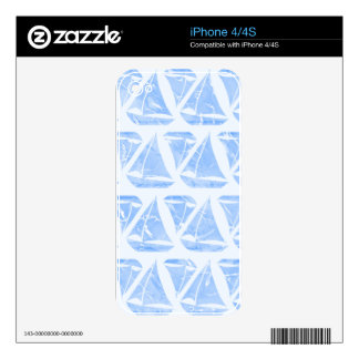 Blue Sailing Boats Water Pattern Skins For iPhone 4S