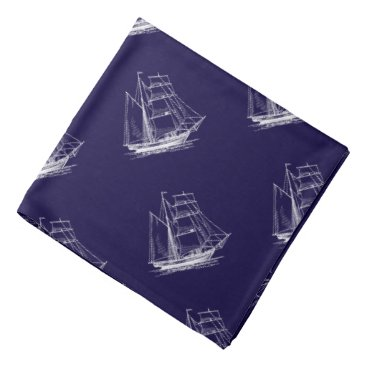 Beach Themed Blue sailing ship nautical boat Bandanna