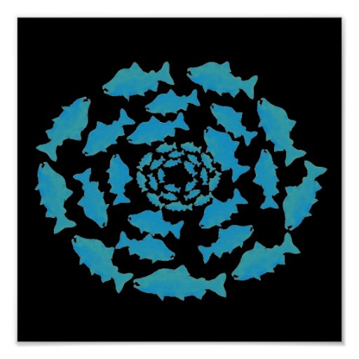 Blue Salmon Circle Posters