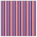 [ Thumbnail: Blue & Salmon Colored Striped Pattern Fabric ]