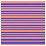 [ Thumbnail: Blue & Salmon Lines Pattern Fabric ]