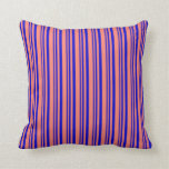 [ Thumbnail: Blue & Salmon Lines Pattern Throw Pillow ]