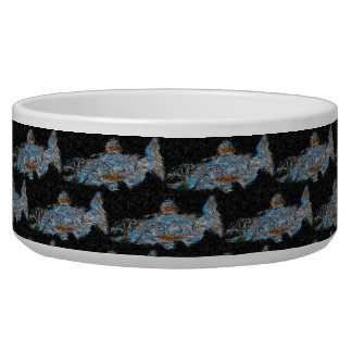 Blue Salmon Patterned Bowl