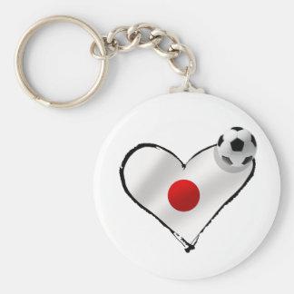 Blue Samurais Japan flag soccer ball love Key Chain