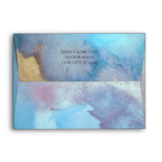 Blue & Sand Abstract Watercolor Beach Matching Envelope