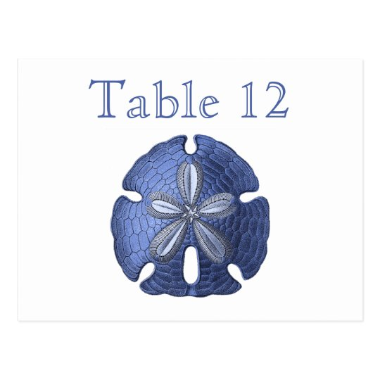 Blue Sand Dollar Reception Table Numbers Postcard