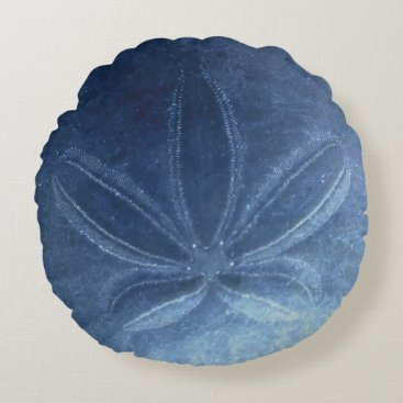Beach Themed Blue Sand Dollar Round Pillow