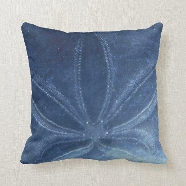 Beach Themed Blue Sand Dollar Throw Pillow