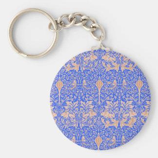 Blue & Sand Rabbit Bird Damasks William Morris Keychains