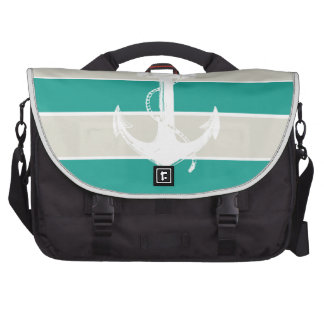 Blue Sandy Stripes and Anchor Laptop Bag