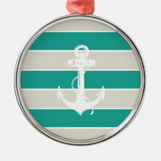 Blue Sandy Stripes and Anchor Metal Ornament