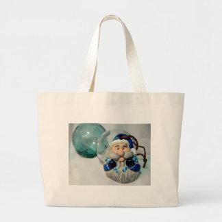 Blue Santa II Large Tote Bag