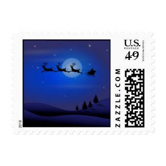 Blue Santa Moon Reindeer Christmas Postage Stamp