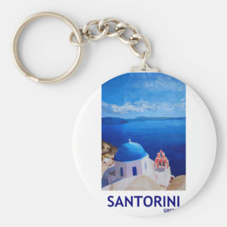 Blue Santorini, Greece - View from Oia Basic Round Button Keychain