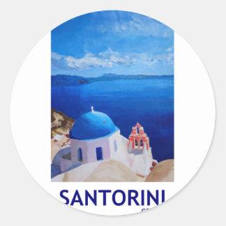 Blue Santorini, Greece - View from Oia Classic Round Sticker