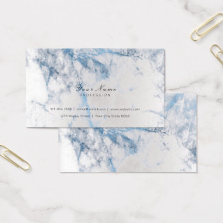 Blue Saphire Silver Metallic Marble Gray Business Card