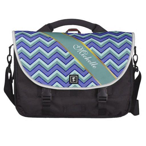 Blue Sapphire Chevron Pattern Bag For Laptop