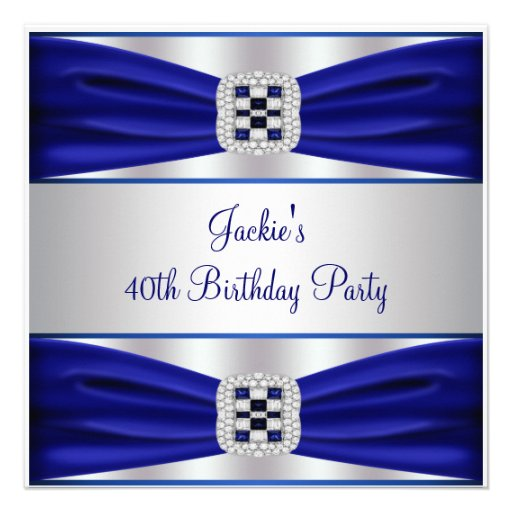 Blue Sapphire Diamond 40th Birthday Party 5.25x5.25 Square Paper ...