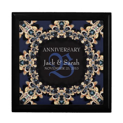 Blue sapphire gems wedding anniversary gift box zazzle