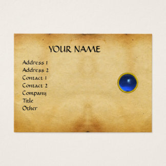 BLUE SAPPHIRE MON ,GREY AGATA  parchment, Gold Business Card