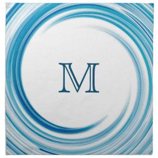 Blue Sapphire Swirl Modern Abstract Monogram Cloth Napkin