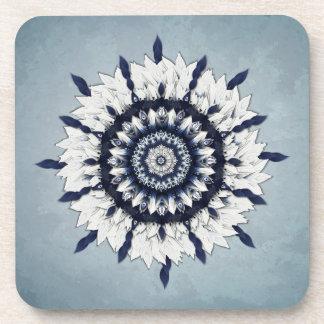 Blue Sash Flower Mandala Square Cork Coasters