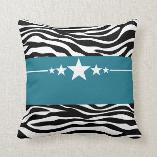 Blue Sassy Star Zebra Pillow