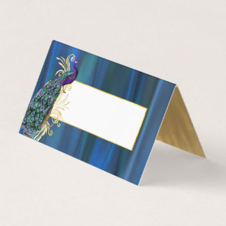 Blue Satin and Peacock Wedding Folded Place Card