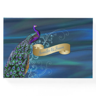 Blue Satin and Peacock Wedding Guest Book