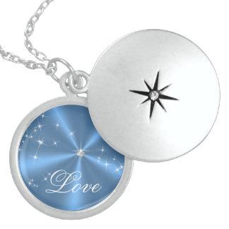 Blue Satin Diamond Round Locket Necklace