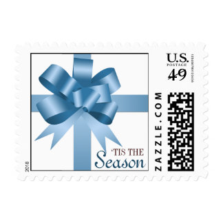 Blue satin gift bow ribbon Christmas holiday stamp