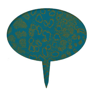 Blue Satin-look Leopard Cake Toppers