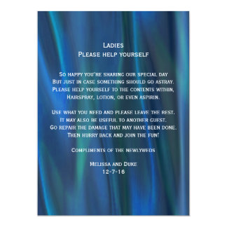Blue Satin Look Wedding Basket Sign Card